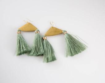 Silk Tassel Boho Statement Earrings