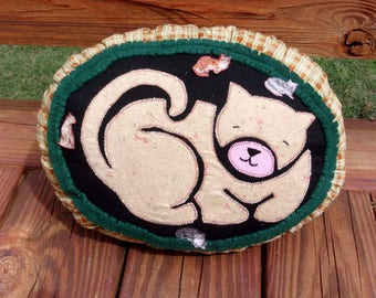 Handmade Curl Up Kitty Pillow