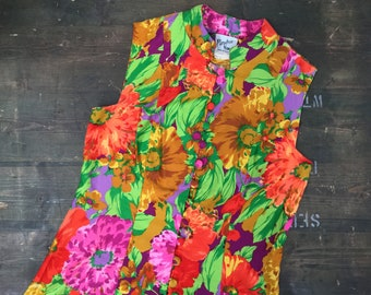 Bright Flower Power Sleeveless Dress