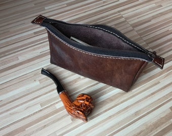Leather Pipe pouch, Leather pipe bag, Pipe Case, Tobacco pouch, Tobacco bag, Anniversary gift, Cigar, Dopp kit bag, Handmade Leather,