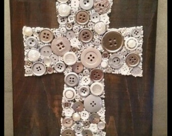 Large Cross. Cross art. Cross gift. Button Art. Religious gift. Mothers Day.  Mothers Day Gift. Free Shipping in USA.  ButtonArtByCarol.