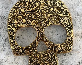 SKULL Large Shiny Gold Pewter Metal Ornate Pendant