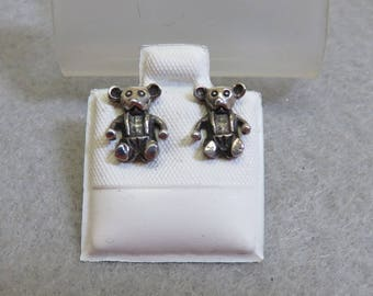 Teeny Tiny Sterling Teddy Bear Pierced Earrings, Vintage