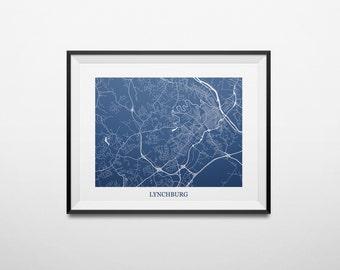 Lynchburg, Virginia Abstract Street Map Print
