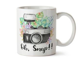 Photography Mug, Wedding Photography,  Photographer Gift, Oh Snap Camera Mug, Funny Coffee Mug, Photographer Cup, Wedding Photographer