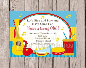 PRINTABLE Music Birthday Party Invitation / Music Party, Singing Party / Instruments / You Print