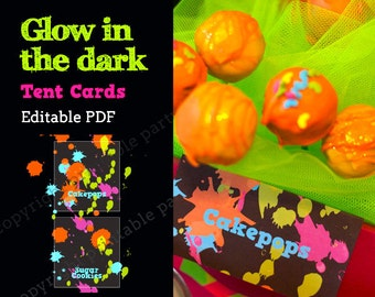 Glow in the Dark Party Neon Color Tent Cards - editable PDF - add your own text