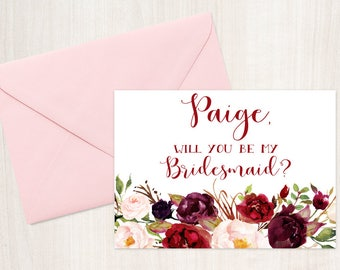 Will you be my Bridesmaid? Personalized Bridesmaid Proposal Card - Maid of Honor, Matron of Honor, Bridesmaid Card with Metallic Envelope