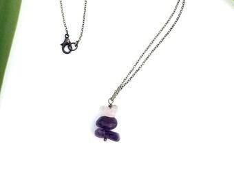 Ameythst  pendant necklace- modern amethyst necklace- amethyst nugget necklace
