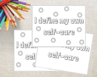 I Define My Own Self-Care Coloring Pages (PRINTABLE): Adult Coloring Book • Coloring Pages • Self-Love • diy