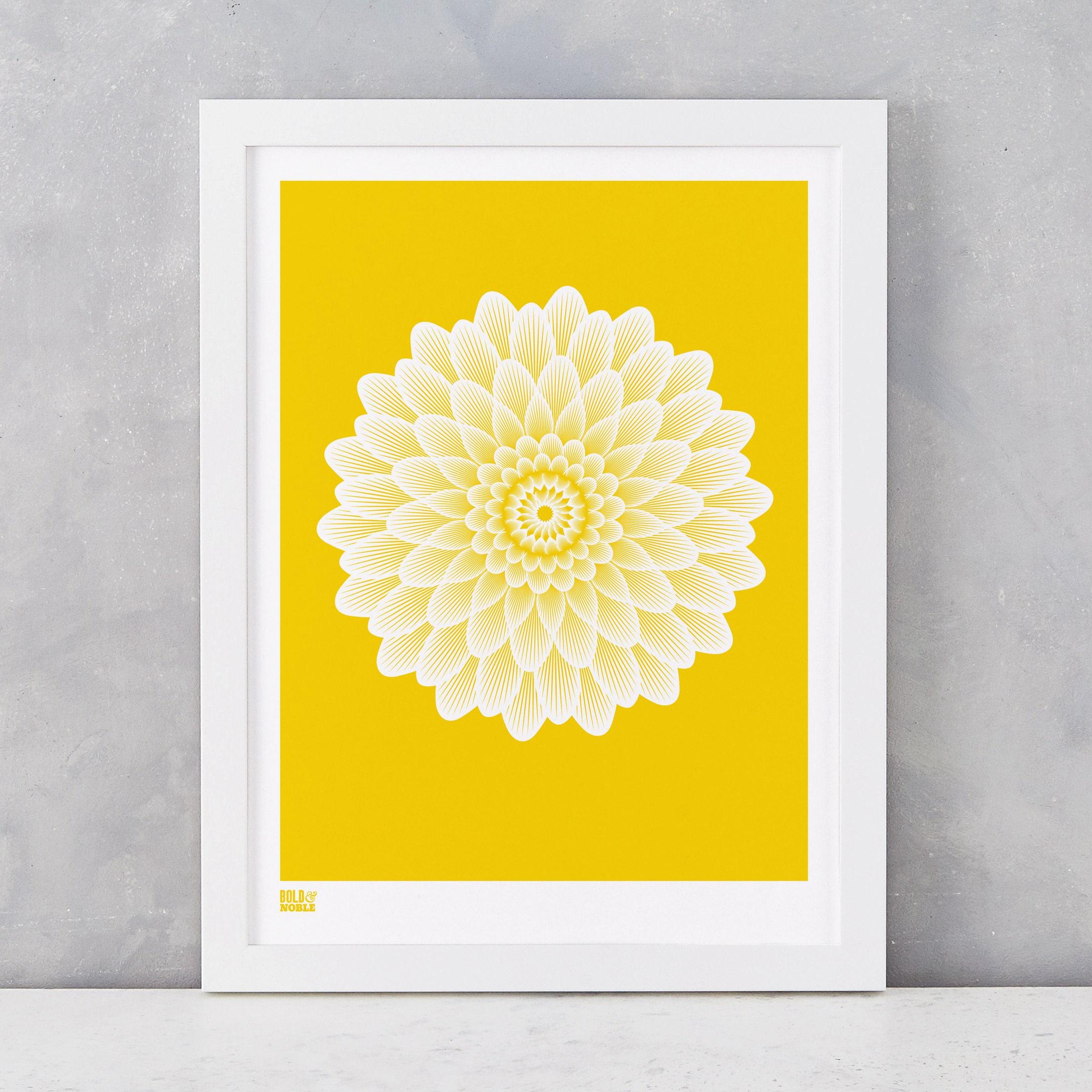 Dahlia Waterlily Art Print in Bright Yellow Flowers Wall Art