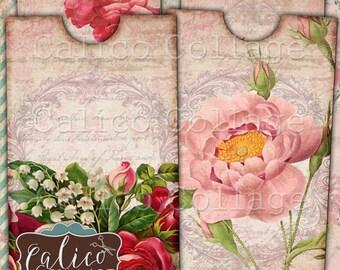 Pink Grace, Envelope and Insert, Printable, Printable Ephemera, Collage Sheet, Junk Journal Tags, Digital Tags, Printable Envelope