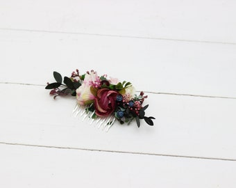 Burgundy pink blue flower comb Hair flowers Bridal floral headpiece Wedding flowers Floral accessories Bridesmaid comb Outdoor Hairpiece
