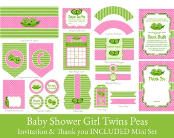 Baby Shower  for Twin girls //  2 Peas in a pod // Twins shower // Baby Shower // INVITATION INCLUDED