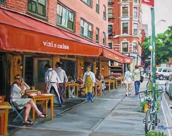 "West Village New York Art NYC Greenwich Village Morandi Outdoor Cafe Fine Art Print ""Vini e Cucini""  Cityscape Painting Gwen Meyerson"
