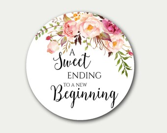 Wedding Favor Tag, A Sweet Ending To A New Beginning, Favor Tag, Floral Tag, Favor Labels, 2.5 inch, Candy Buffet Label, Wedding Tags, C1