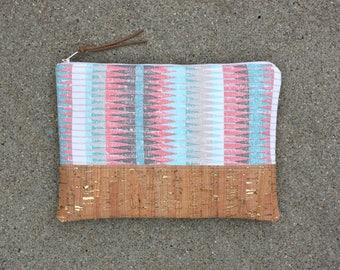 Southwestern tribal Cork fabric Clutch