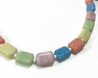 Art Deco Glass Necklace | Solid Pastel Coloured Glass | Single Strand Harlequin Multi Colour Beaded Necklace