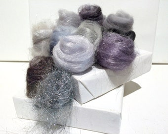 Silver Fiber Art kit Sampler, wool Angelina firestar, Felting Spinning, blending board fiber, Silver palette,Silver roving, Saori Weaving