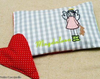 Embroidered warmth pillow: Angel Girl with Teddy bear. With Lavender heart bag.