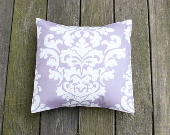 Lavender Damask Pillow Cover- Lavender and White Decorative Couch Pillow 16x16- Ready to Ship