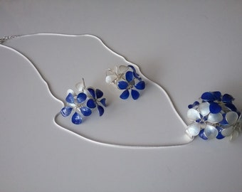 Jewelry set blue ivory necklace with silver
