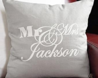 Gray wedding monogram pillow with insert | Grey Monogram pillow | Wedding pillow | Grey 100% Linen Pillow | Gray Pillow | Decorative Pillow