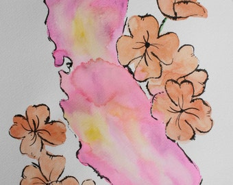 SALE - California with CA Poppies Watercolor - Original Painting