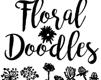 Pen and Ink Doodle Floral Clip Art, Custom Invitations Clip Art, Digital Doodle Floral Clip Art, Garden Flowers Clip Art, Doodle Clip Art