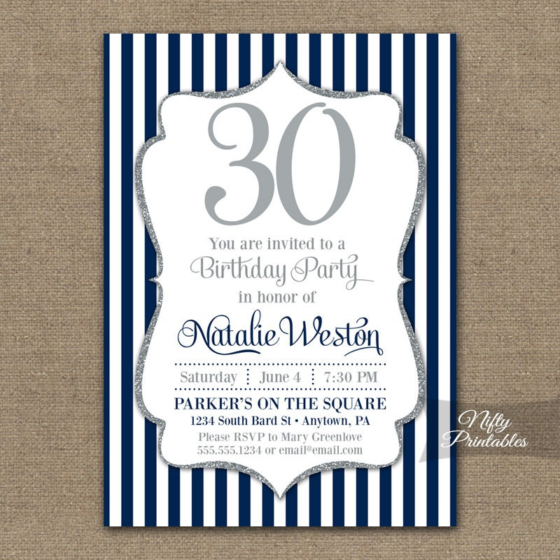 Navy Blue & Silver Birthday Invitations Printable ANY AGE