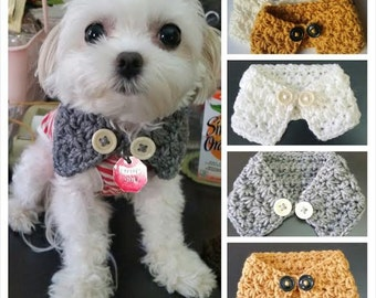 Crocheted Puppy /dog neck warmer/scarf , dog scarf, Choose from 7 colors, Fits most XS ,S or M dogs