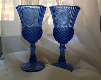 Vintage Cobalt Blue Glass Goblets George and Martha Washington Avon Fostoria Bicentennial Americana Patriotic - Set of 2, Item #571682601