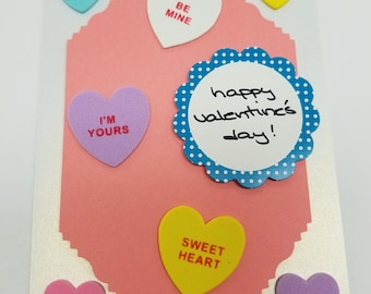 Happy Valentine's Day! Handmade Greeting Card * Conversation Hearts * Foodie Love * I Love You Card