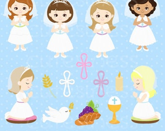 First Communion clipart, Communion Digital Clipart, Communion Clipart, Communion Clip Art, Communion Girl Clipart
