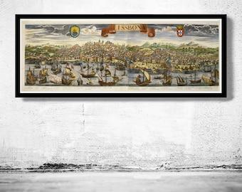 Old Map of Lisbon Lisboa Portugal mapa antigo 1740
