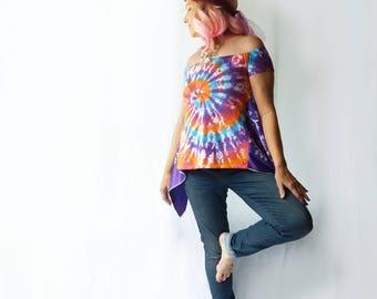 Off shoulder Tie dye tshirt, scarf side insets, size small medium, OOAK, summer, upcycled, rainbow, hippie top, festival top, orange, purple