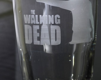 Hand Etched Tumbler Drinking Glass From Popular T.V. Series The Walking Dead