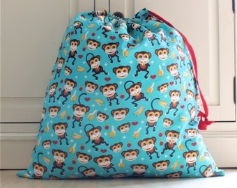 Toy Bag / Laundry Bag in Turquoise Monkey Print Fabric
