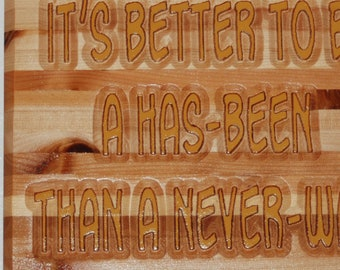 It's better to be a has-been than a never-was - Hand painted wooden plaque -10099