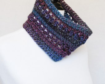 SALE! Blue, Purple Crochet Cowl, Short Infinity Scarf, Lacy Neck Warmer