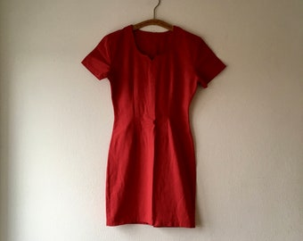 1990s bright red wiggle dress.// size xs - small
