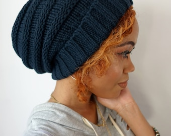 On Sale, Satin Lined Beanie, Carmen Beanie, Thick Stretch Cotton Wool Blend Knit Beanie Navy Blue or Choose Your color