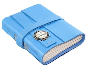 Leather Journal with Lined Paper, Light Blue  Notebook, Bookmark, Postage Cameo, Mother's Day Gift, HandCrafted, Key Cameo