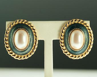 Gold Plated Faux Pearl Enamel Earrings