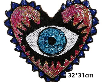 big sequins eyes patches,sew on embroidery badges for jackets denim jeans,sequins appliques eyes patches,shiny eye patches for sweater