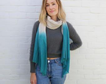 PURNA Ombre Dip Dye Fine Wool Scarf (in 3 colours)