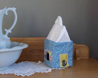 Tissue Box Covers, Get Well Gift, Bathroom Decor, Kleenex Box Cover, Cottage Style House for Cat Lovers, Tissue Dispenser, Various Colors