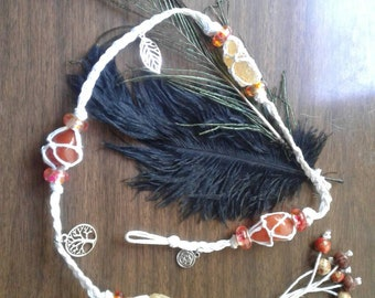 Agate and Citrine Witches ladder with natural feathers, charms, and beads