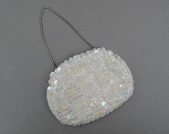 Vintage White Beaded Evening Bag with Sequins Hong Kong Elegant Wedding Beaded Purse for Bride Excellent Condition