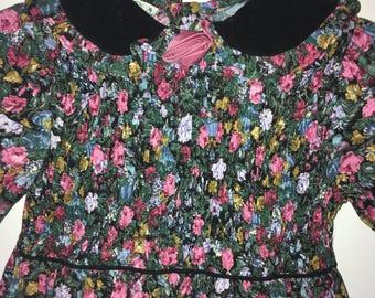 Vintage Polly Flinders Size 7 Girls Dress Peter Pan Collar
